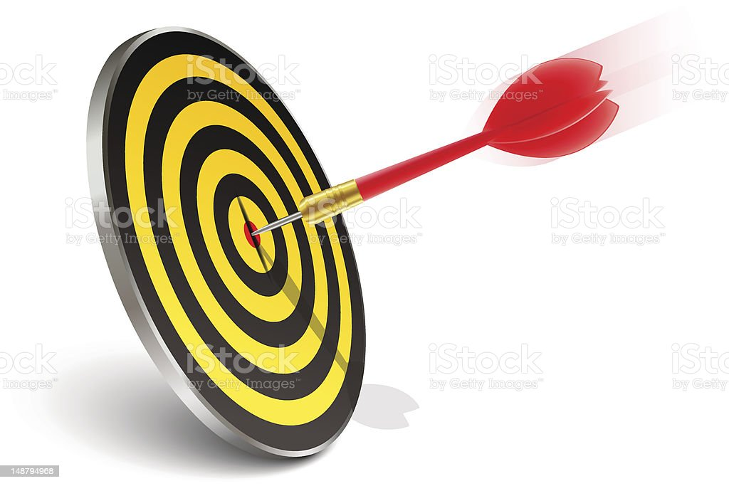 Red dart hitting the target royalty-free stock vector art