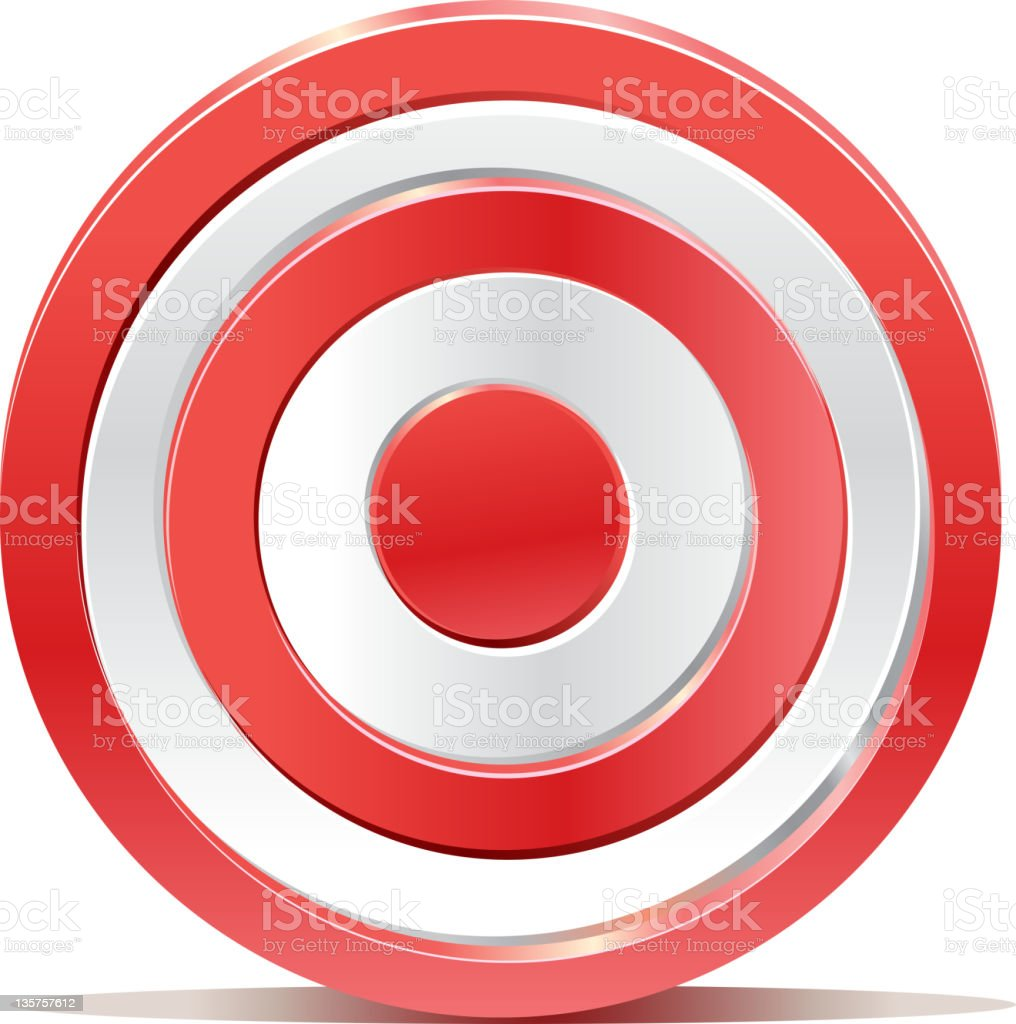 Red darts target aim on white background vector art illustration