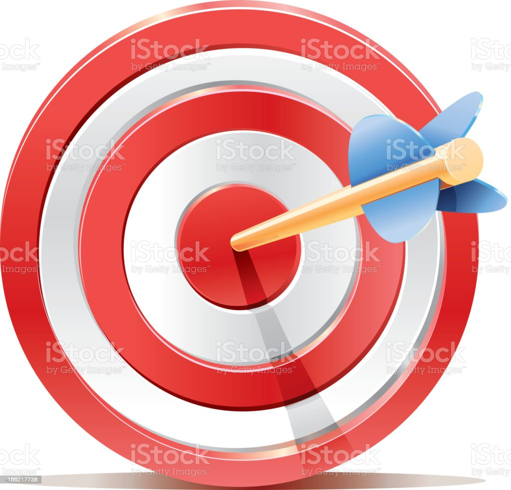 Red darts target aim with arrow royalty-free stock vector art