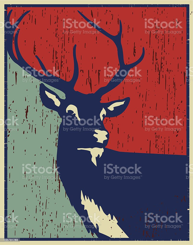 red deer vintage poster royalty-free stock vector art