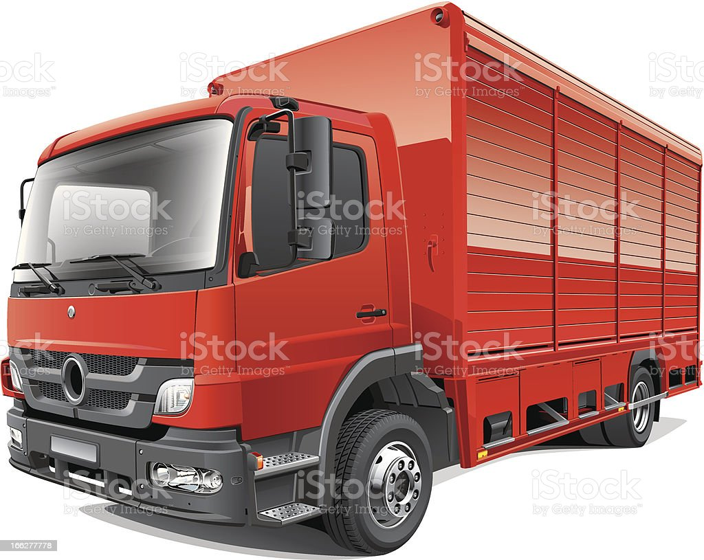 Red Delivery Truck vector art illustration