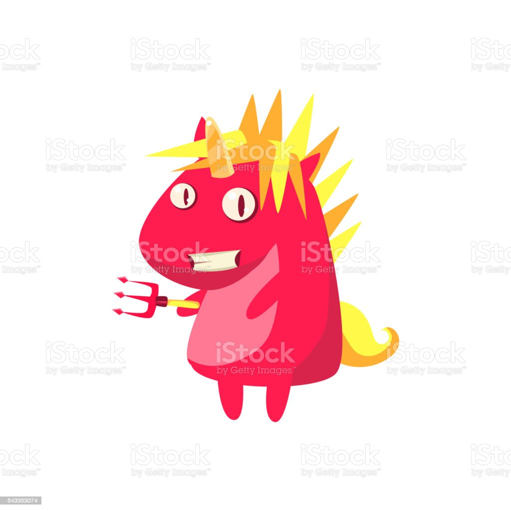 Red Devil Unicorn vector art illustration