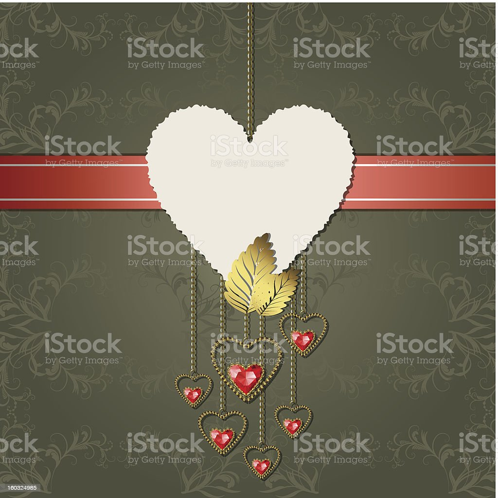 Red diamond hearts with gold ornaments and paper royalty-free stock vector art