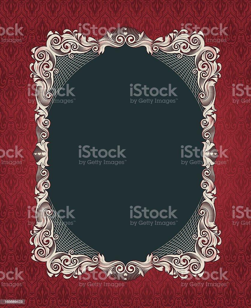 Red Dinoveau Frame vector art illustration
