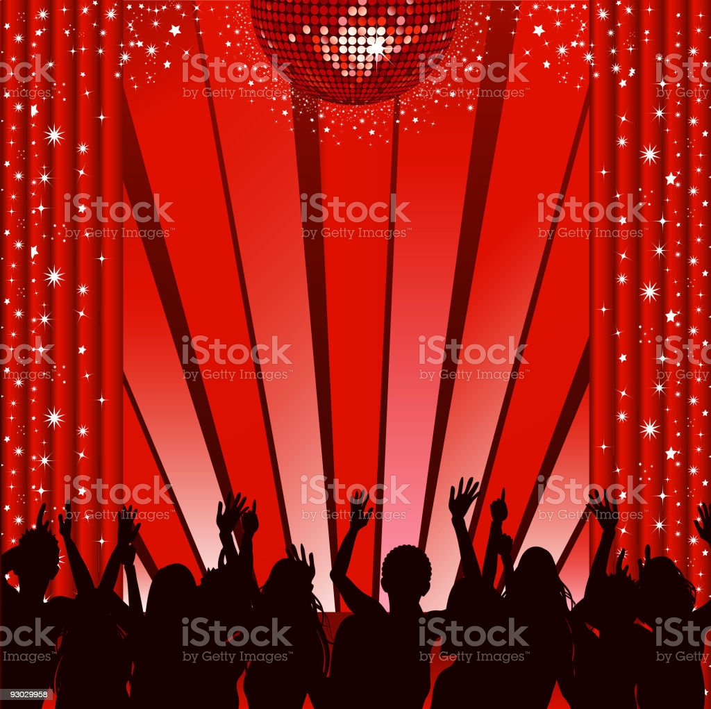 red disco stage and crowd royalty-free stock vector art