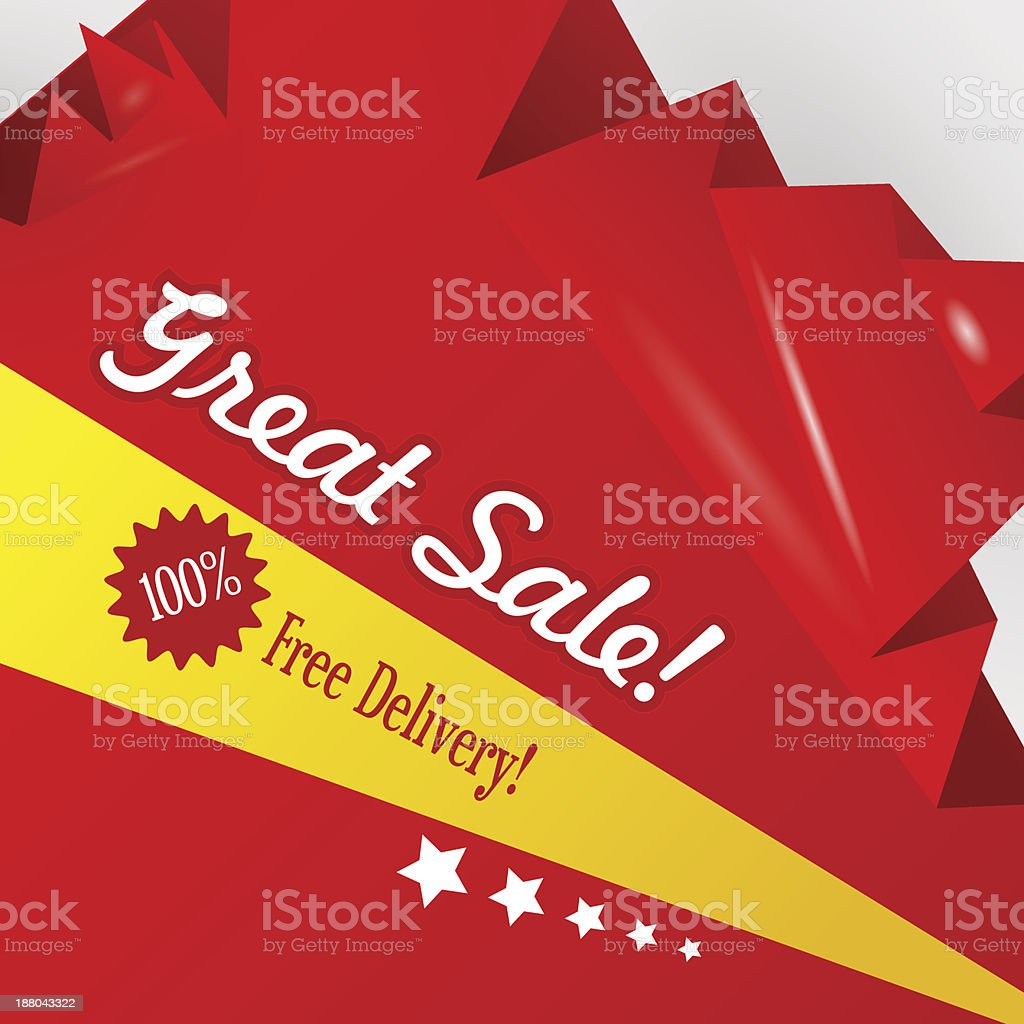 Red discount abstract origami background vector art illustration