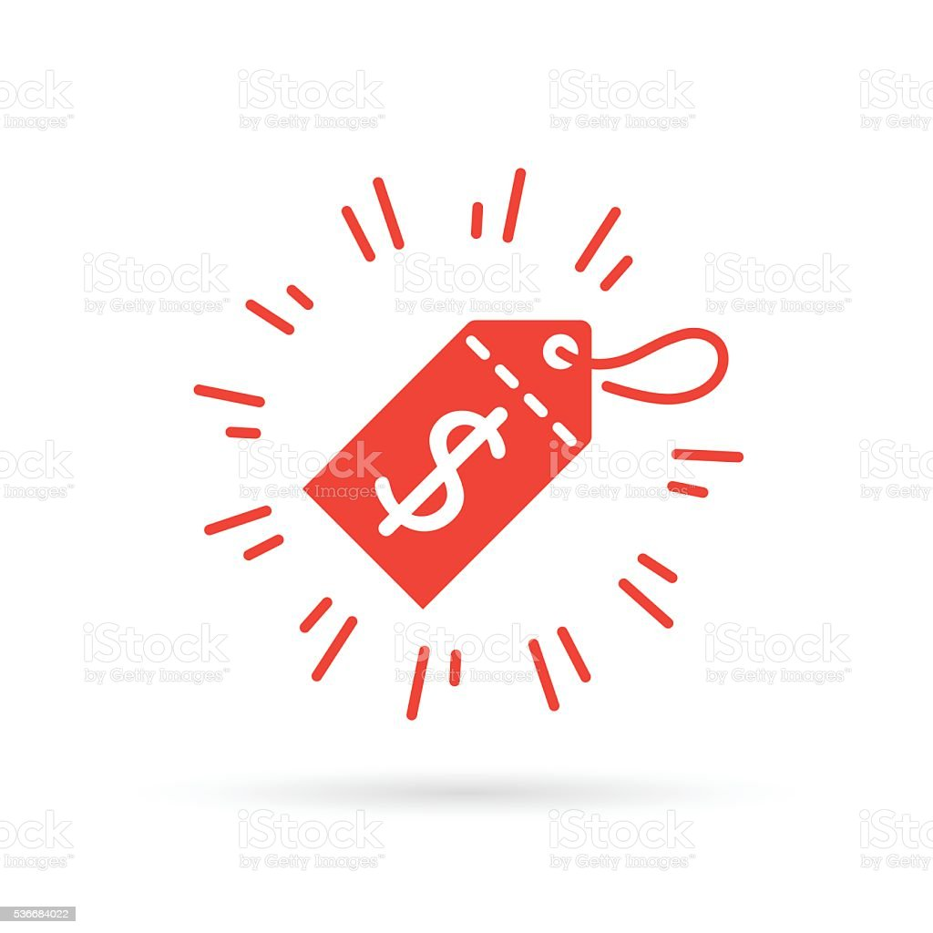 Red discount label icon with dollar price symbol sale tag. vector art illustration