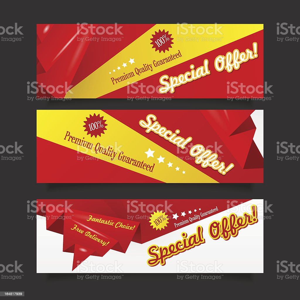 Red discount origami banner collection vector art illustration