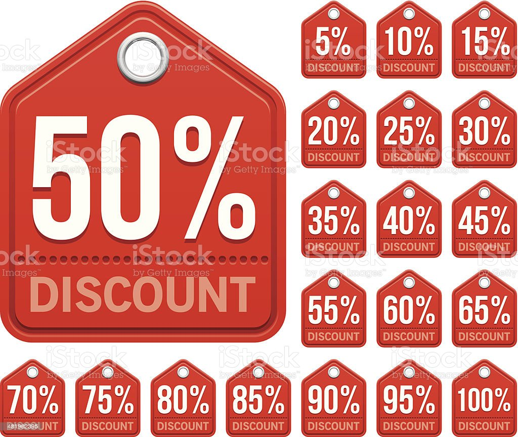 Red discount tags royalty-free stock vector art