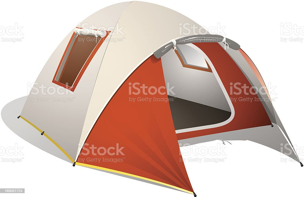 Red Dome Tent vector art illustration