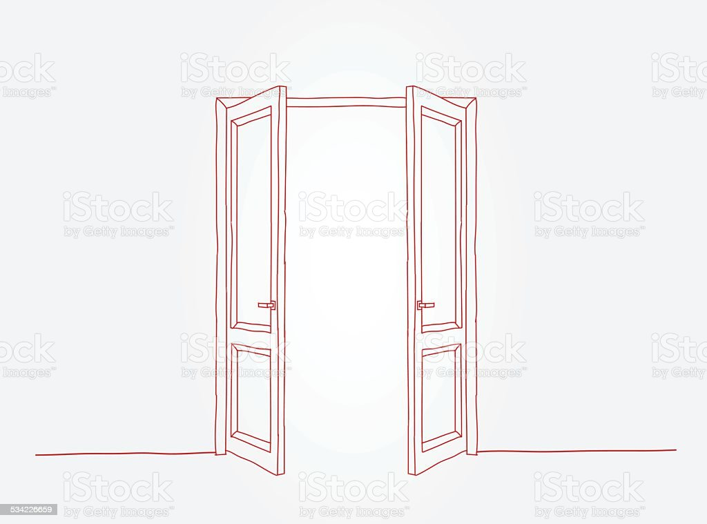 Red doors contour vector art illustration