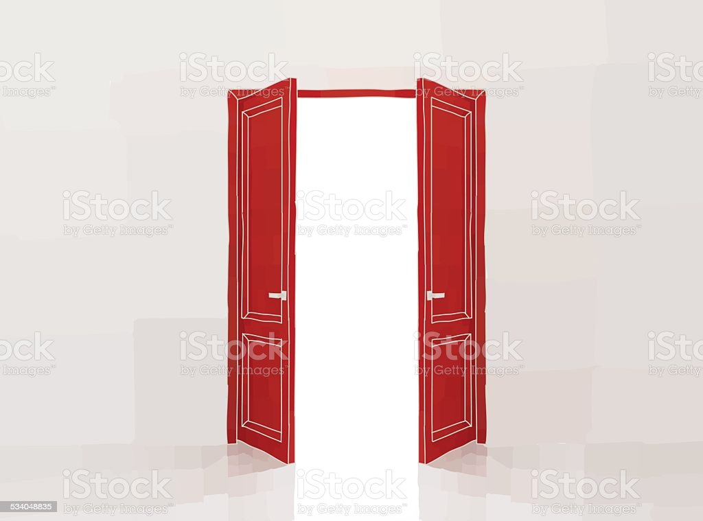Red doors vector art illustration
