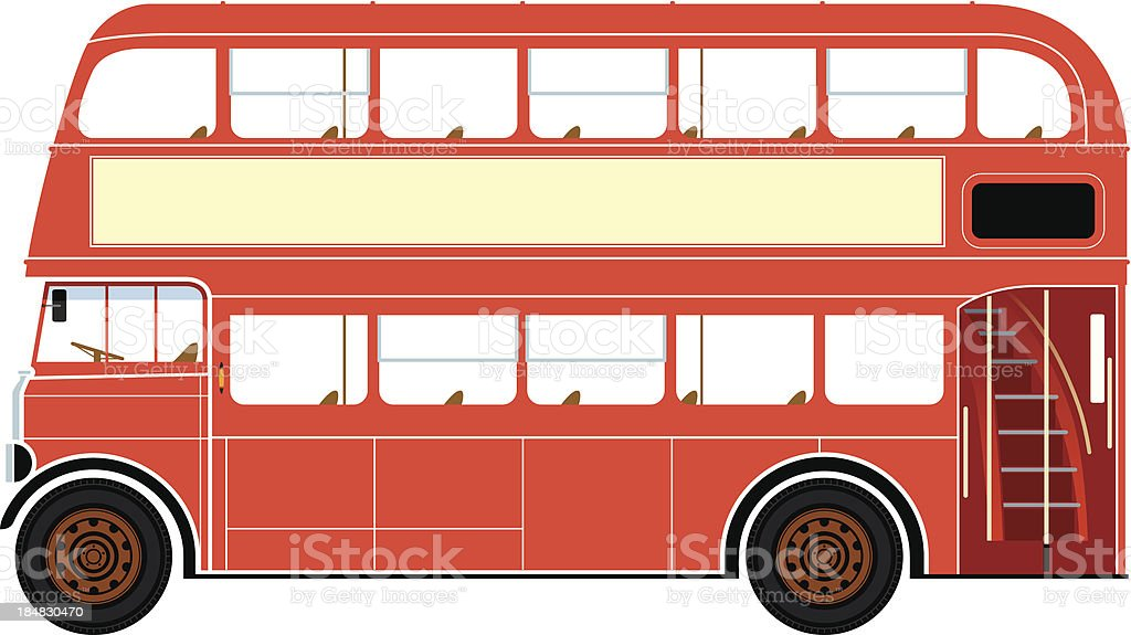 A red double decker bus commonly found in London vector art illustration