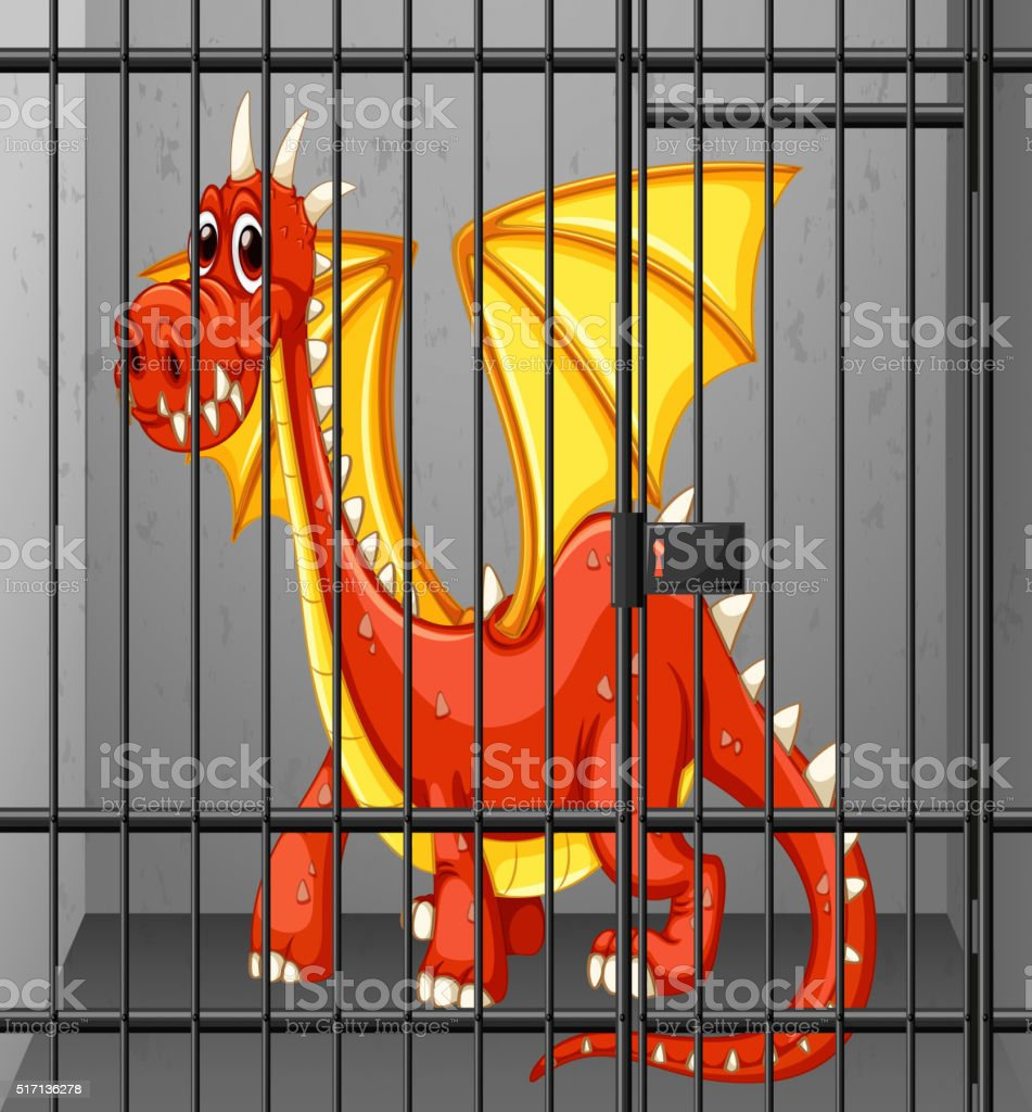 Red dragon in the cage vector art illustration