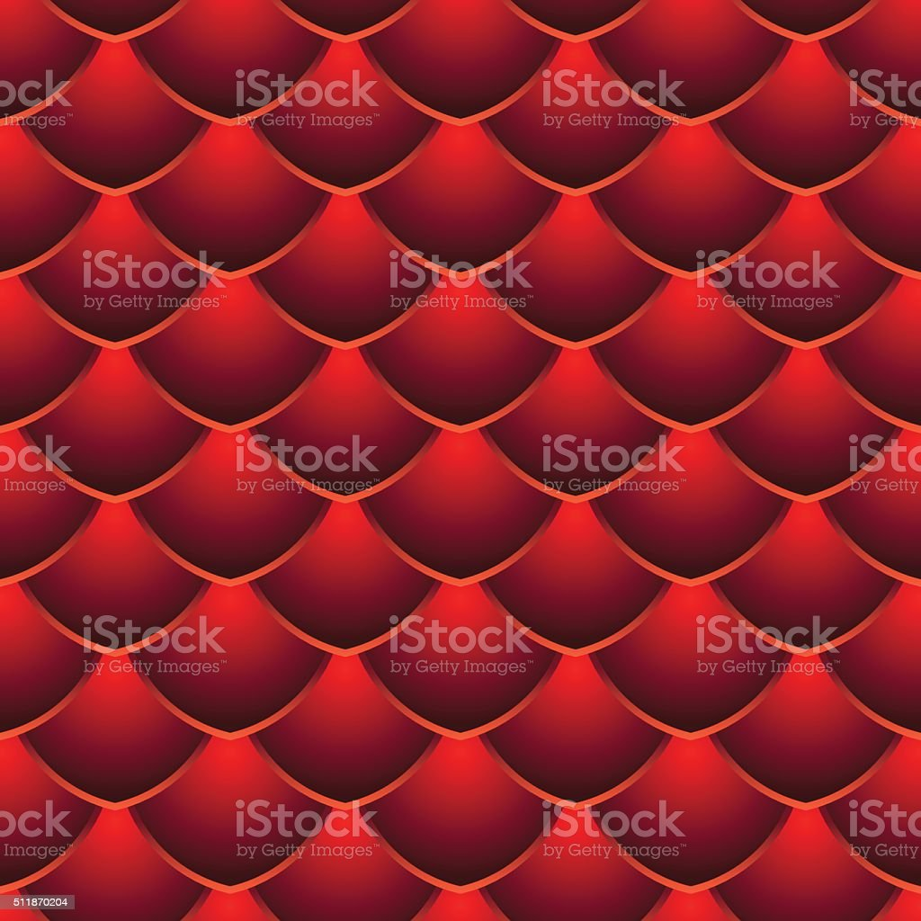 Red Dragon Scale Seamless Pattern vector art illustration