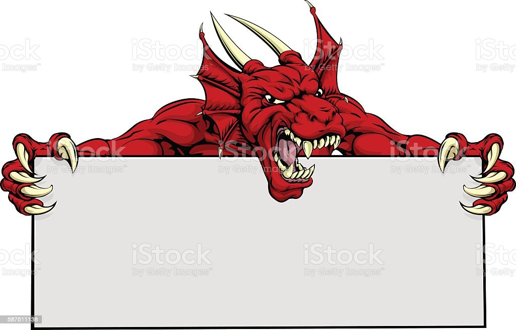Red Dragon Sports Mascot Sign vector art illustration