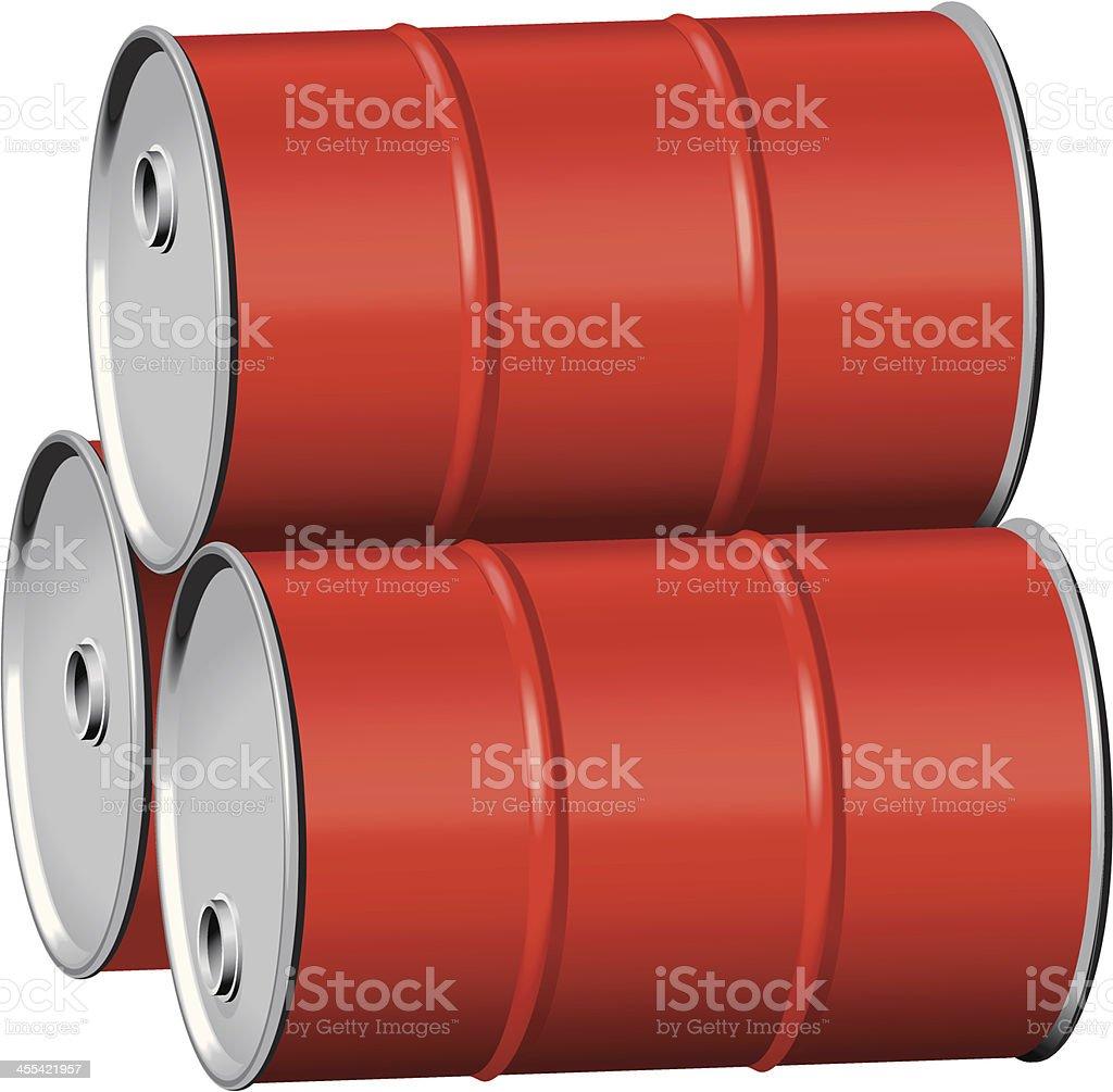 Red drums on side vector art illustration