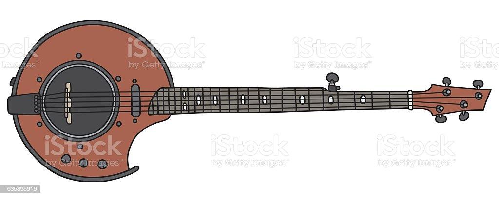 Red electric banjo vector art illustration