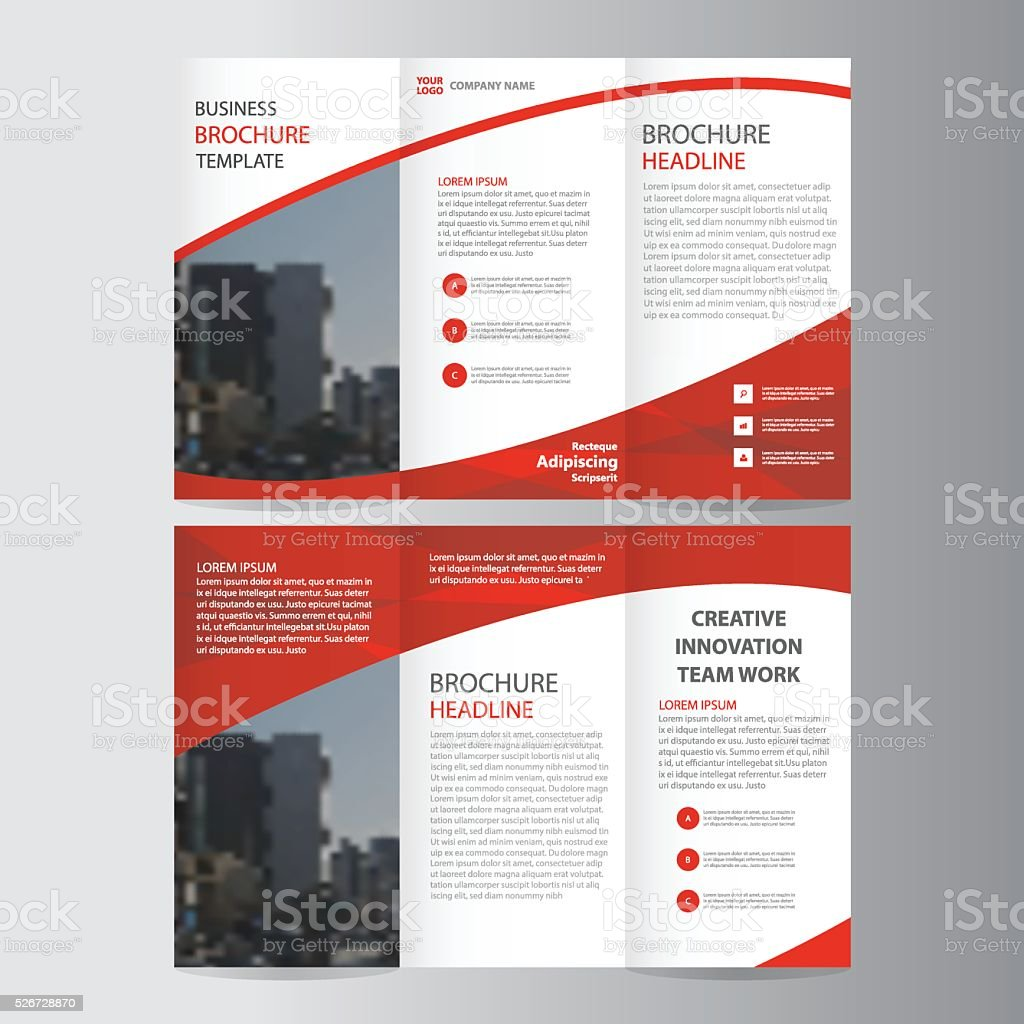 Red elegance business trifold business Leaflet Brochure Flyer layout template vector art illustration