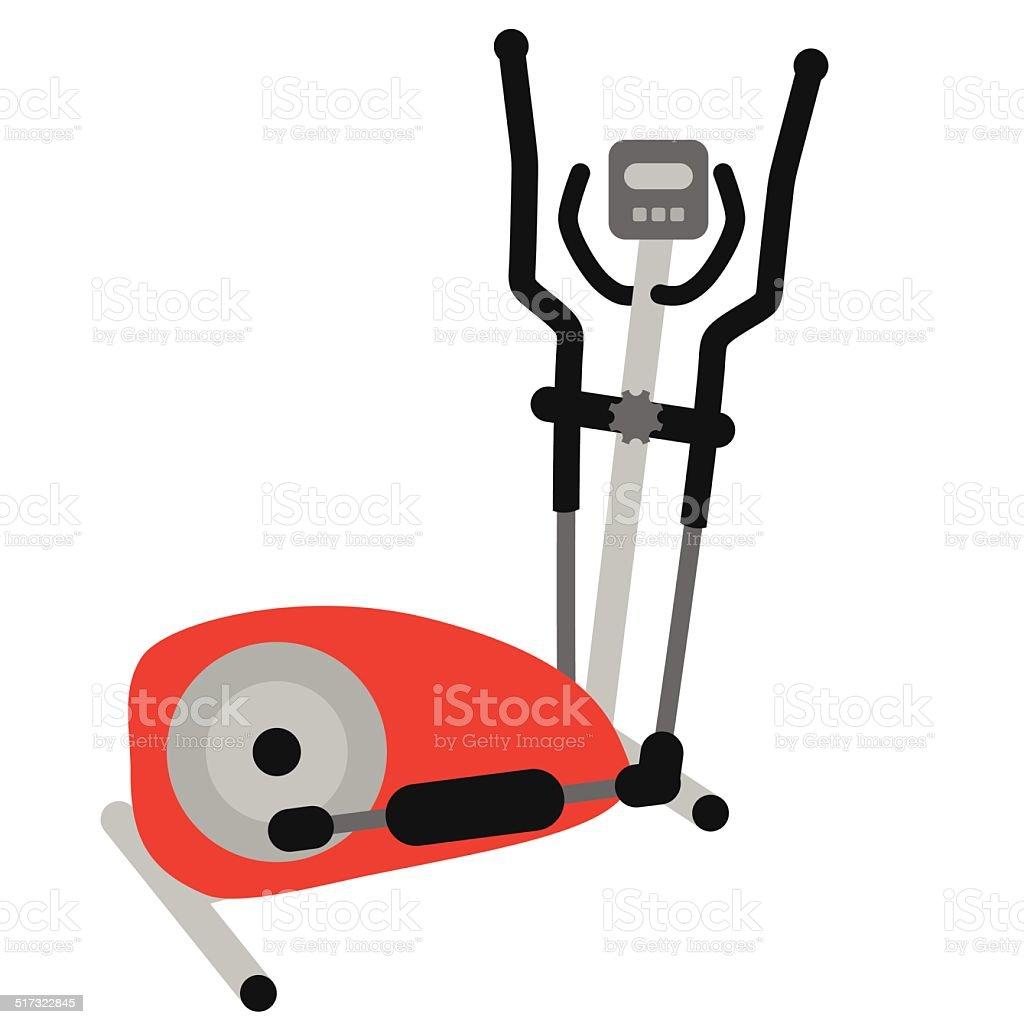 red elliptical cross trainer vector art illustration