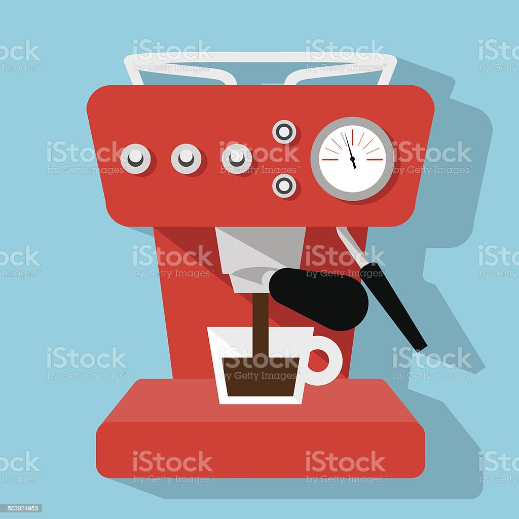 Red espresso maker icon on blue background vector art illustration