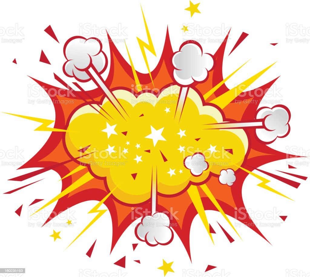 Red Explosion, cartoon vector art illustration