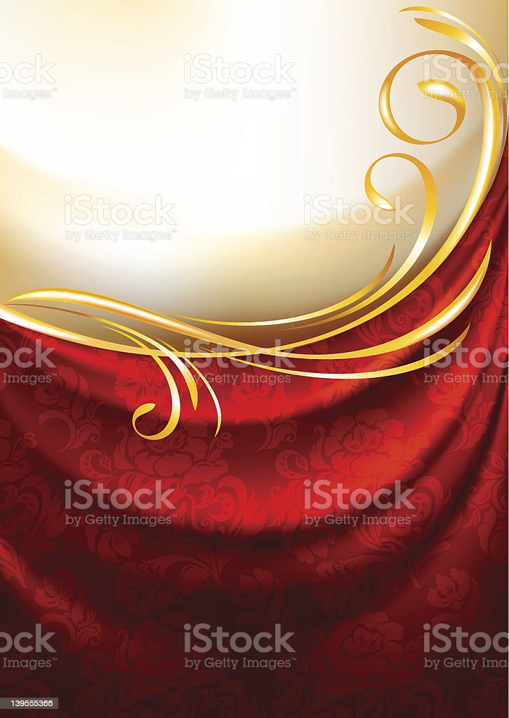 Red fabric curtain, background royalty-free stock vector art