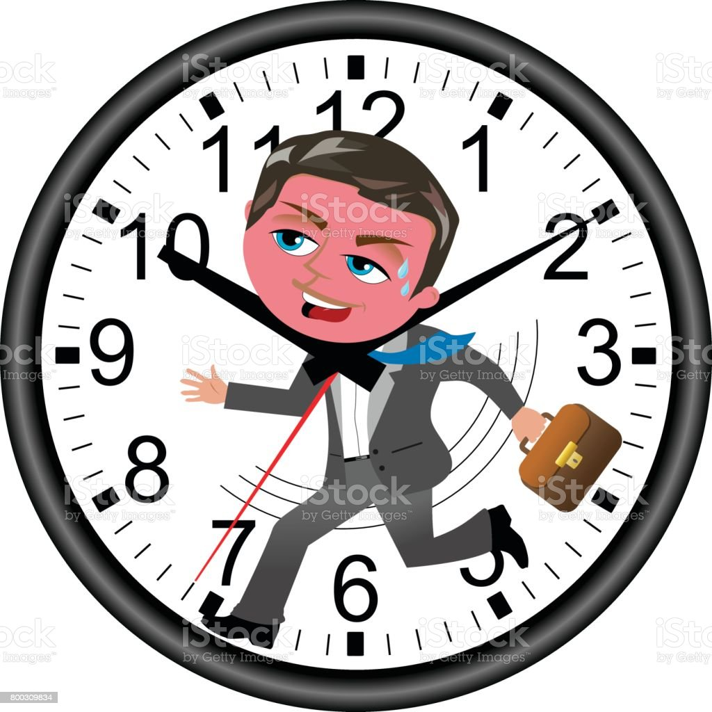 Red faced businessman running against time in a wall clock isolated vector art illustration
