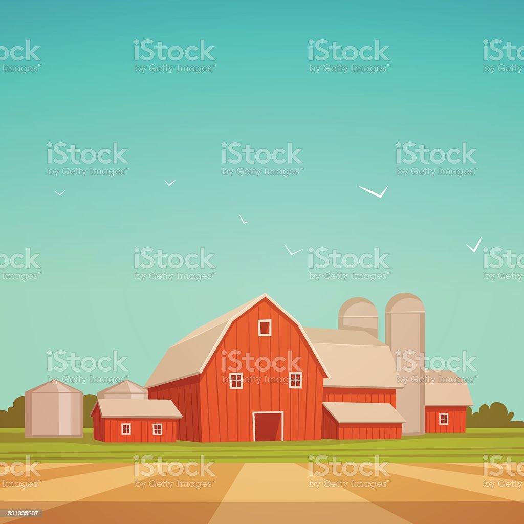 Red Farm Barn vector art illustration