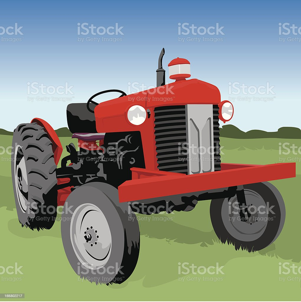 Red farm tractor vector art illustration