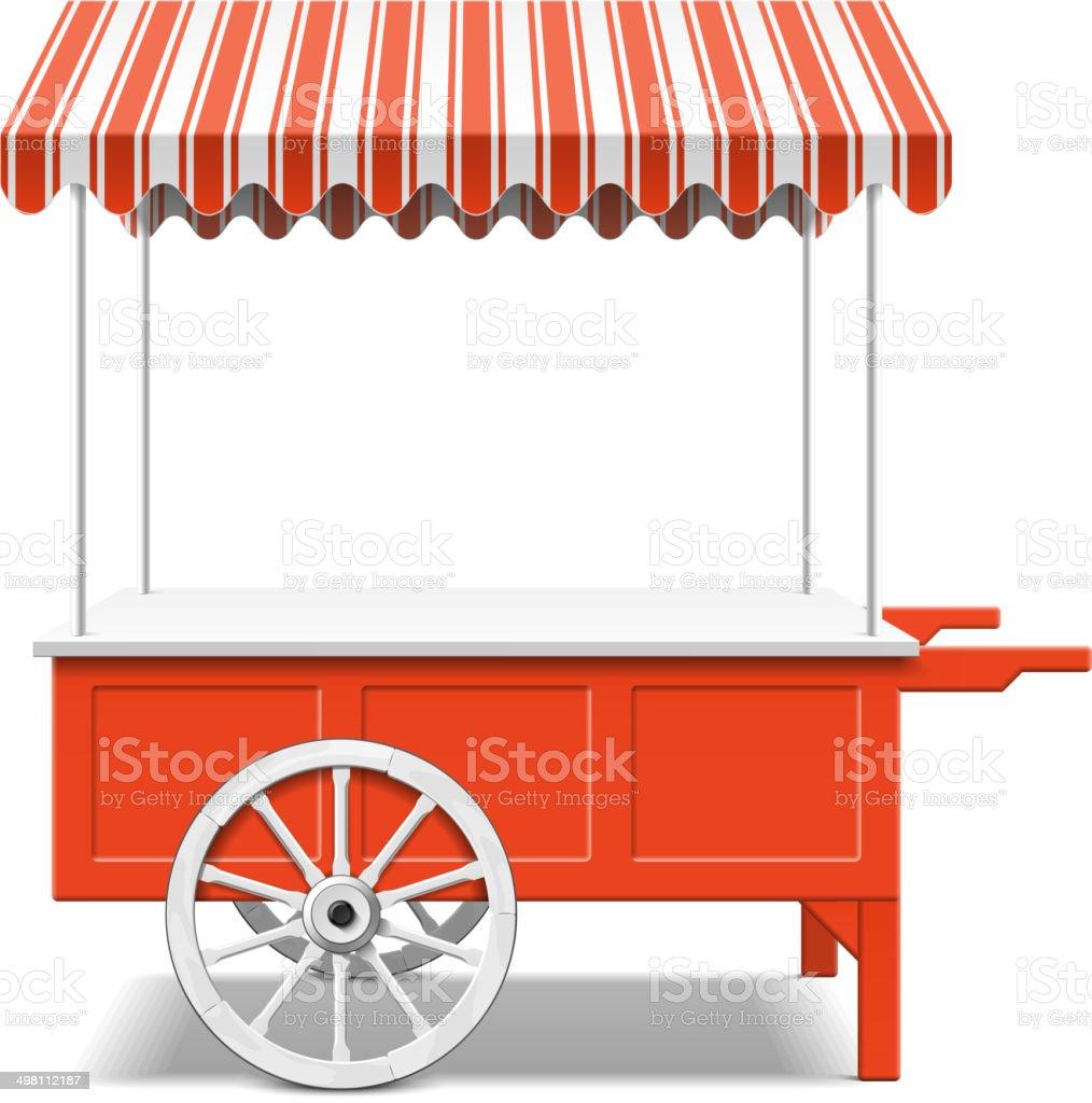 Red farmer's market cart vector art illustration