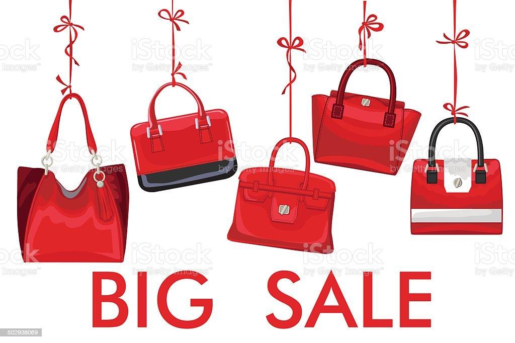Red fashion women's handbag hang on ribbon.Big sale vector art illustration