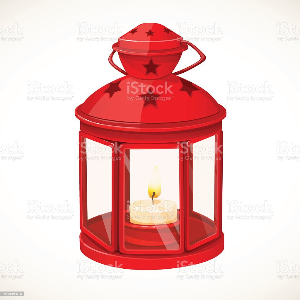 Red festive lantern with a candle inside vector art illustration