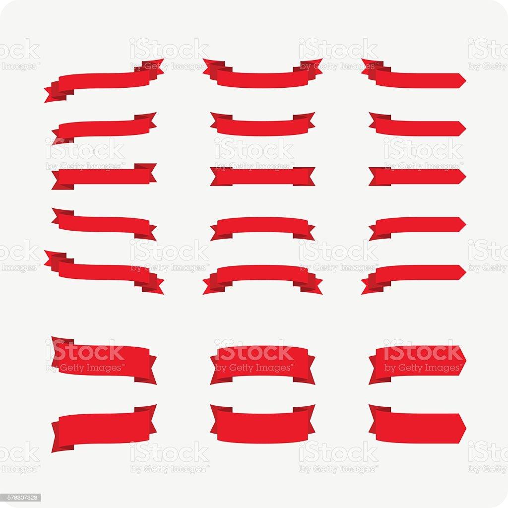 Red festive ribbons vector art illustration