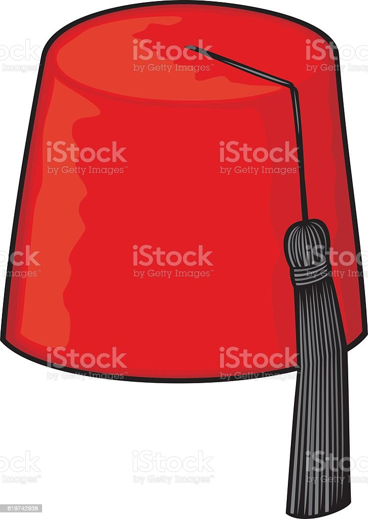 red fez hat vector art illustration