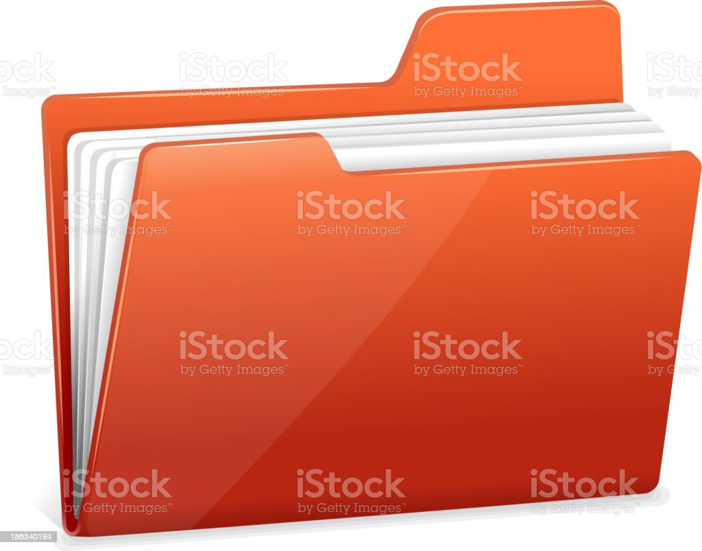 Red file folder with documents royalty-free stock vector art