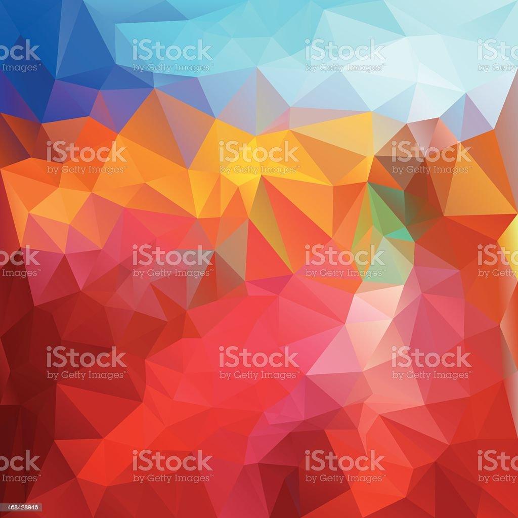 red fire blue polygonal triangular pattern background vector art illustration