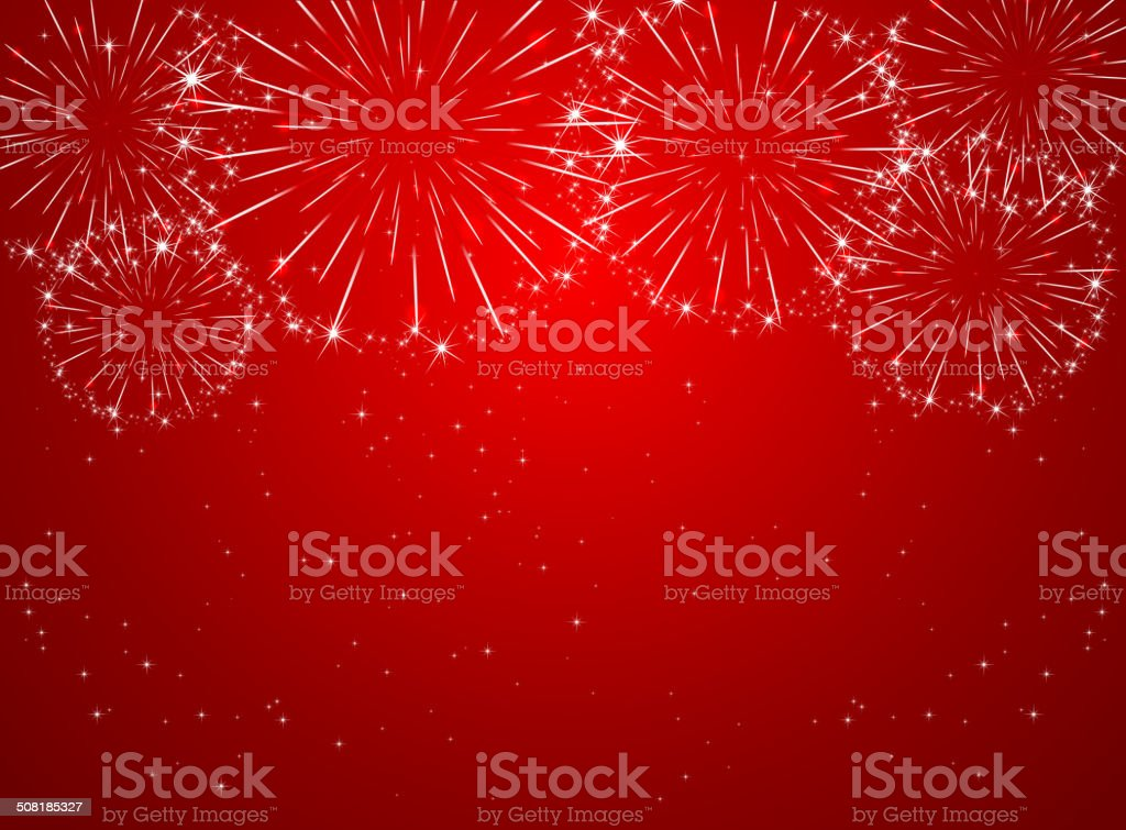 Red firework vector art illustration
