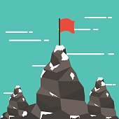 Red flag on a mountain peak. success and mission.
