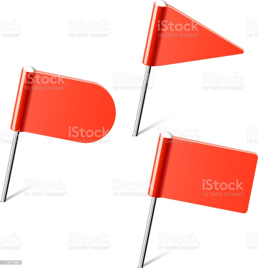 Red flag pins royalty-free stock vector art