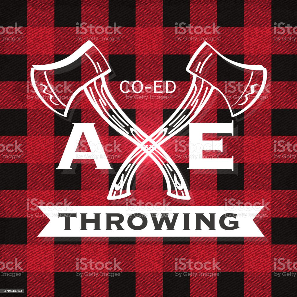 Red flannel Co-ed Axe Throwing label crest or badge design vector art illustration