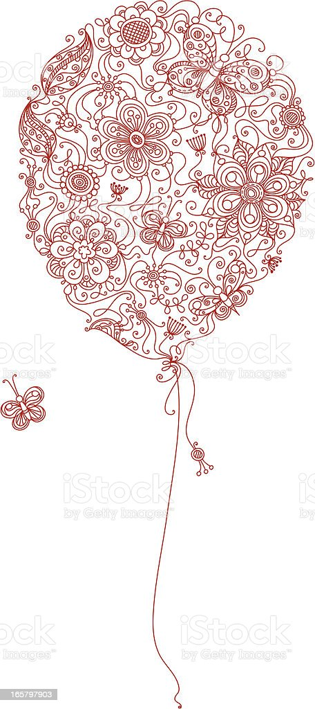 Red floral balloon royalty-free stock vector art