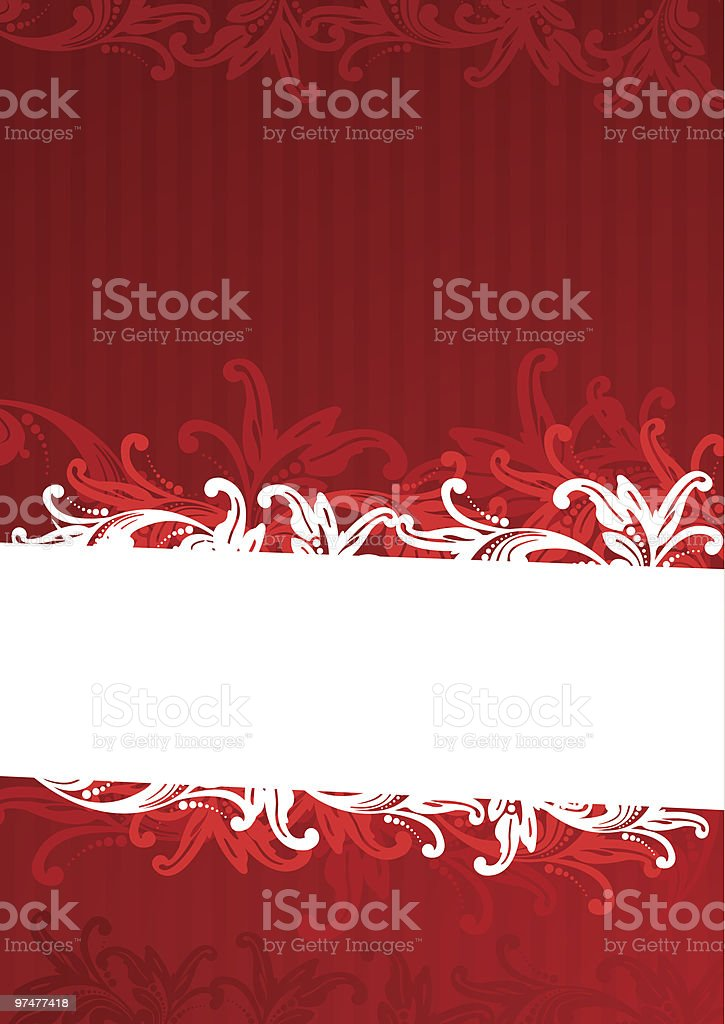 Red floral wallpaper royalty-free stock vector art