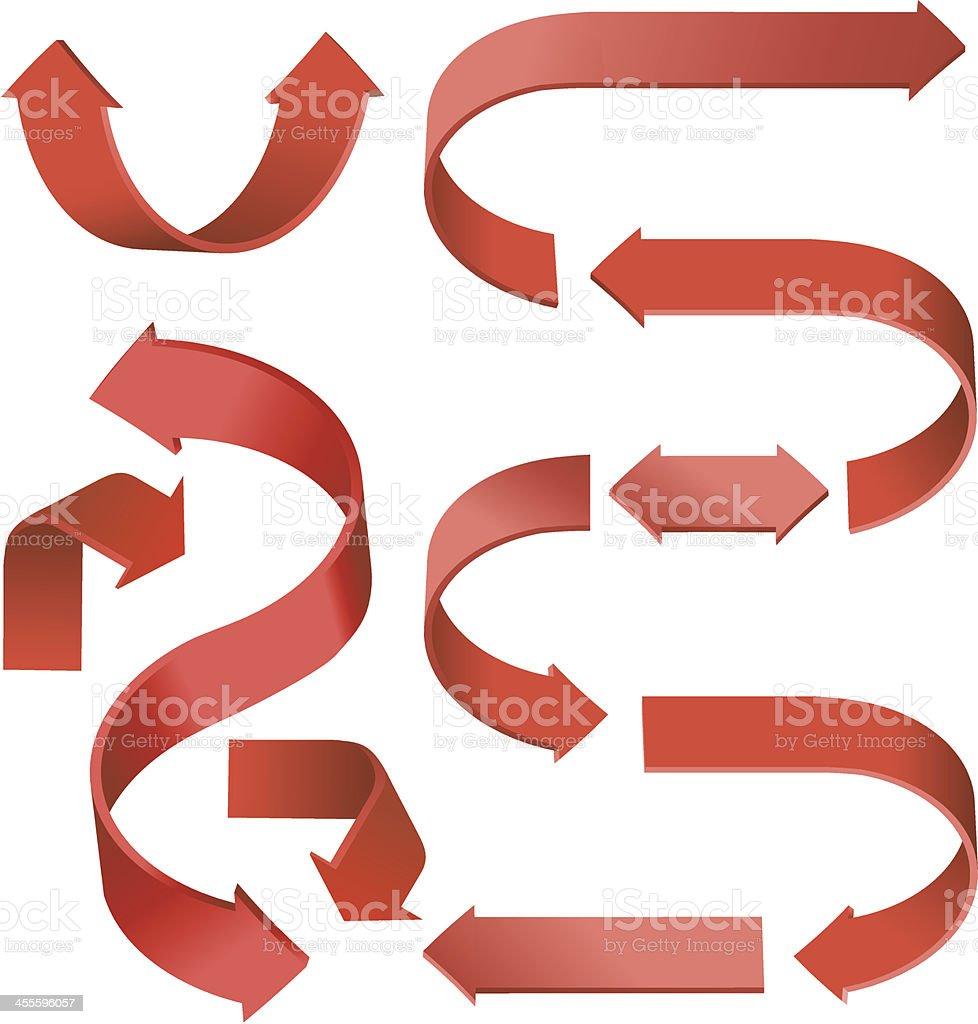Red flow arrows vector art illustration