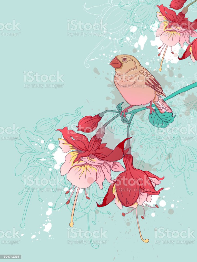 Red flowers and bird vector art illustration