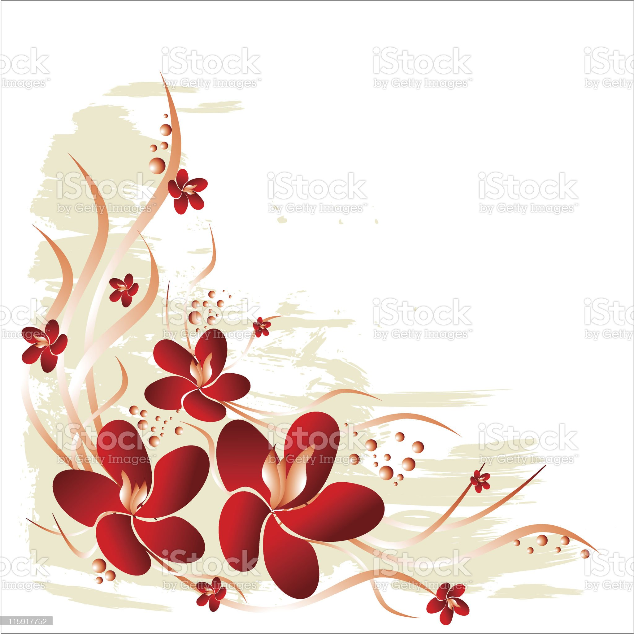 Red flowers & Grunge background royalty-free stock vector art
