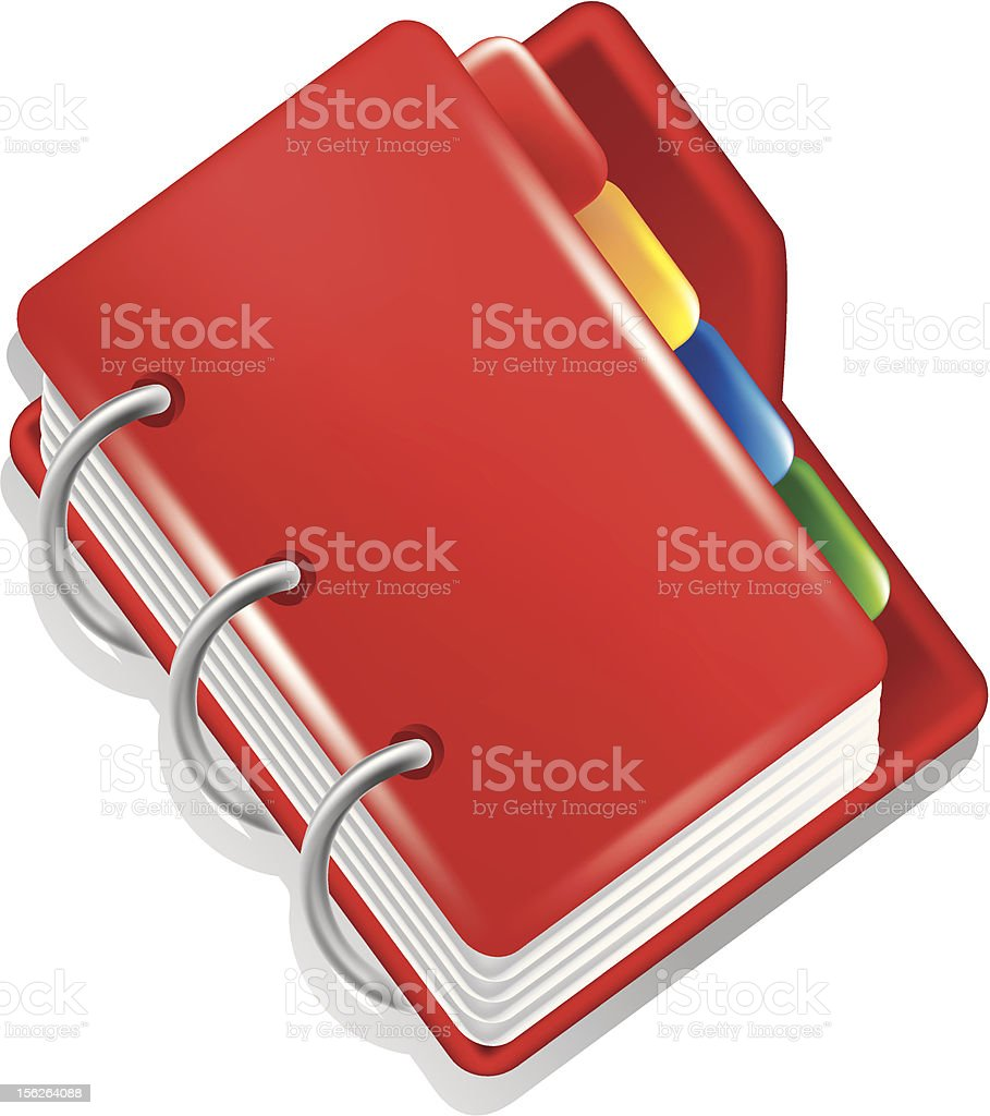Red folder with colorful bookmarks icon royalty-free stock vector art