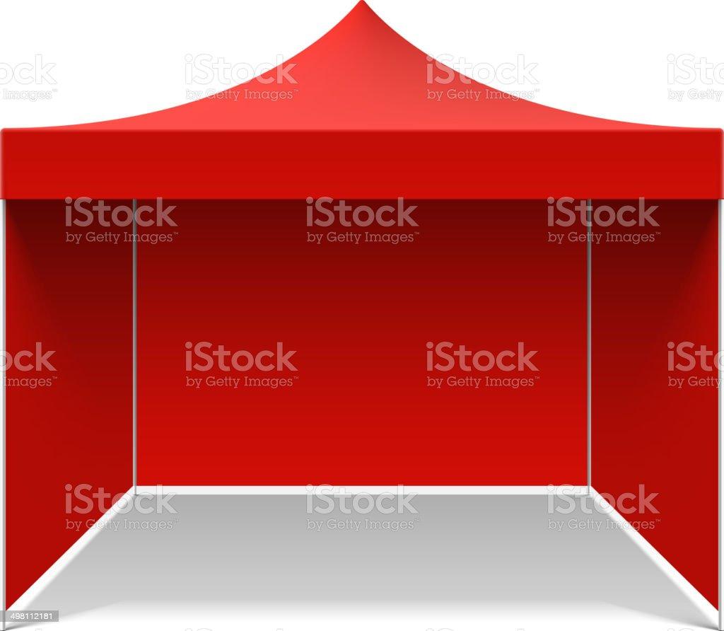 Red folding tent vector art illustration