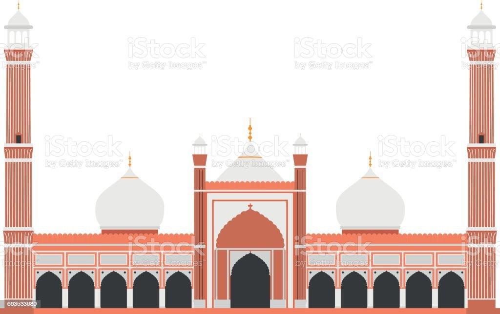Red Fort, Delhi, India. Isolated on white background vector illustration. vector art illustration