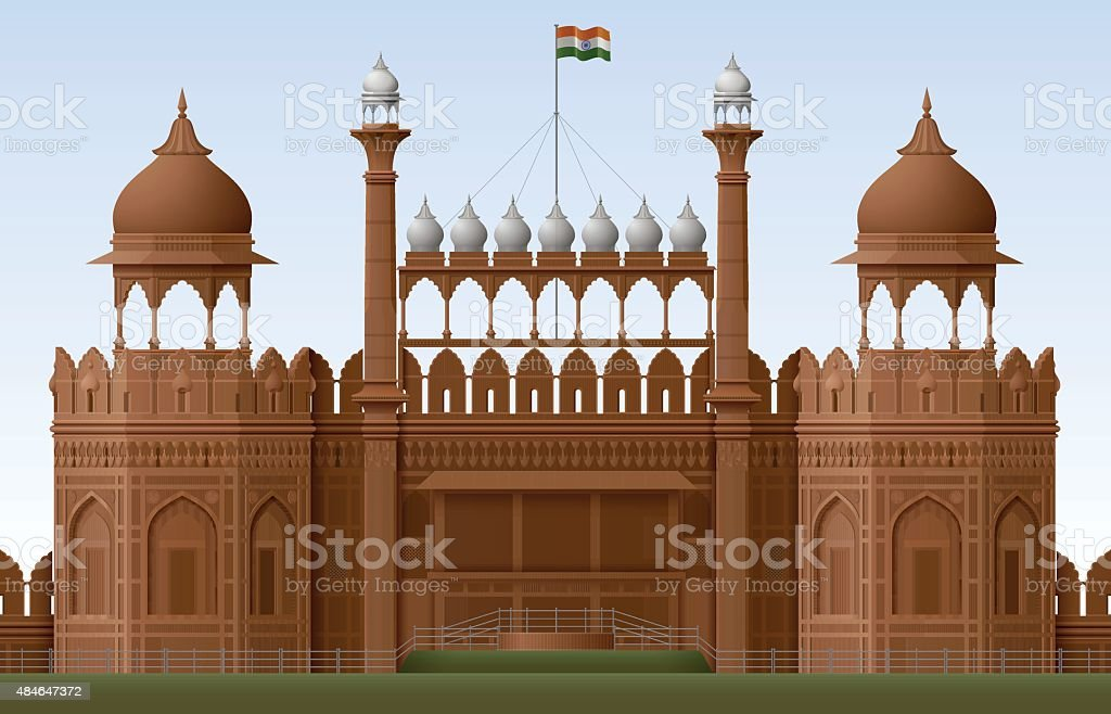 Red Fort vector art illustration